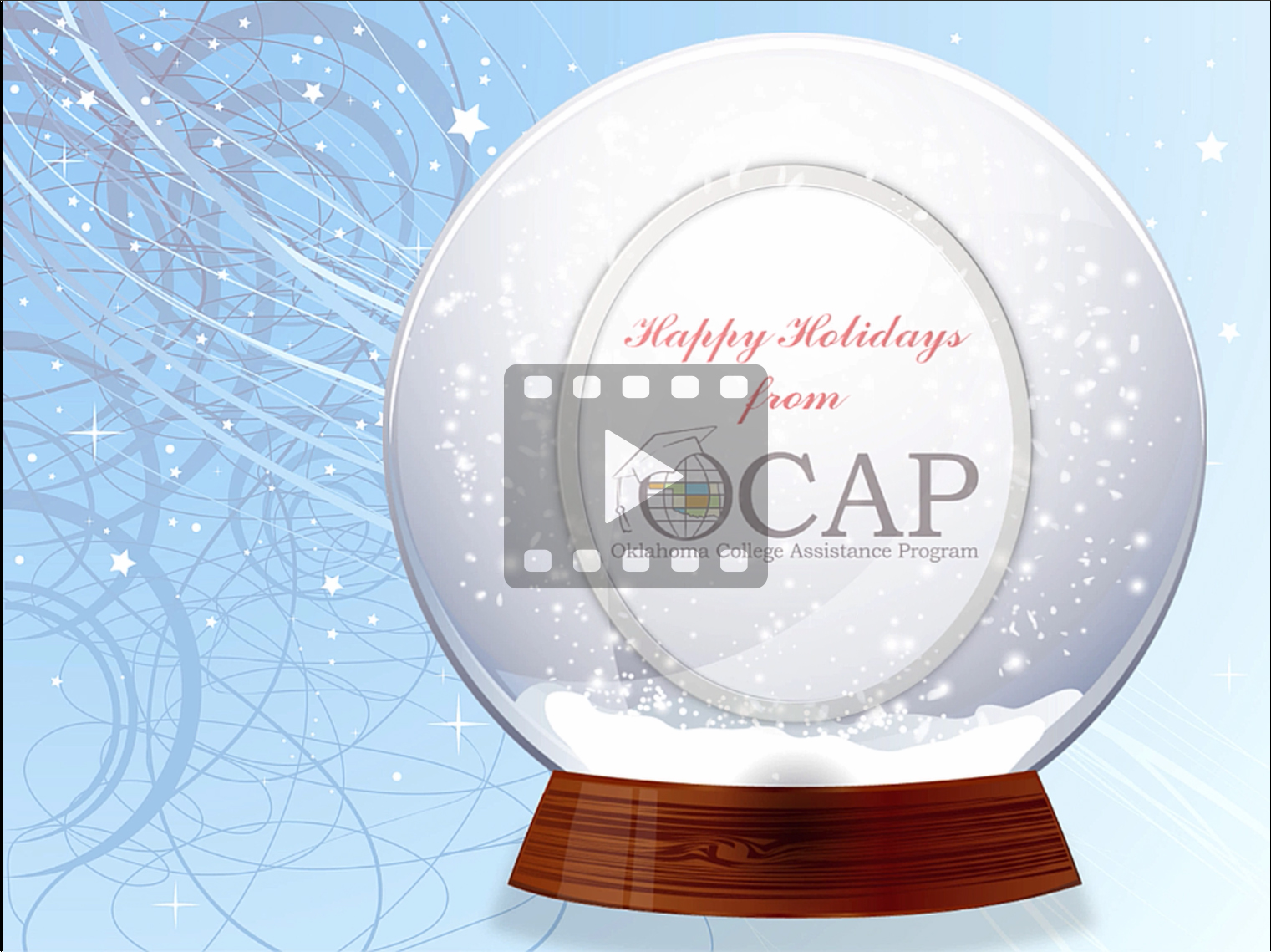 Screenshot of OCAP's holiday greeting video. Video link opens in a new tab